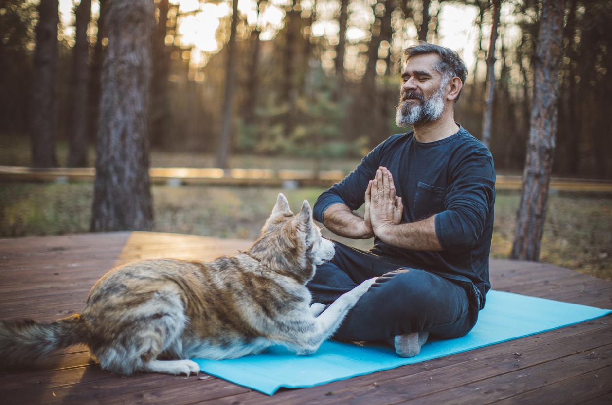 hombre haciendo meditacion en la montaña con su perro
